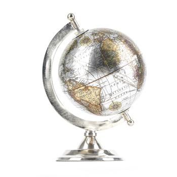 Metallic Silver Globe, Metal, Silver, 5 3/4 x 5 x 8 Inches