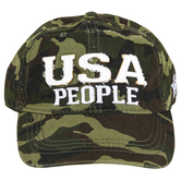 Pavilion Gift, USA People Adjustable Hat, Cotton, Green Camo, One Size Fits Most