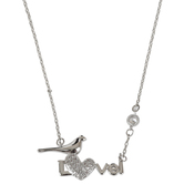 Bella Grace, Love with Bird Pendant Necklace, Zinc Alloy and Glass, Silver, 20 inches