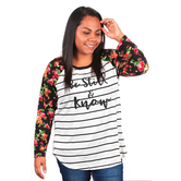 NOTW, Be Still and Know Floral Raglan Sleeved Shirt, Black and White, S-2XL