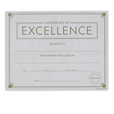Renewing Minds, Certificate of Excellence, 8 1/2 x 11 Inches, Pack of 30