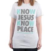 NOTW, 2 Peter 1:2 Know Jesus Know Peace, Women's Short Sleeve T-Shirt, Ash Heather, S-2XL