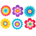 Renewing Minds, Flowers Large Cutouts, Multi-Colored, 6 Inches, 6 Designs, 36 Pieces