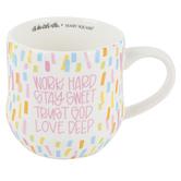 Mary Square, All She Wrote Notes, Work Hard Coffee Mug, Ceramic, Confetti, 18 ounces