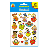 Carson-Dellosa, I Love Jesus Shape Stickers, 1 x 1 Inch, Multi-Colored, Pack of 90