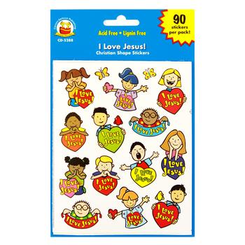 Carson-Dellosa, I Love Jesus Shape Stickers, 1 x 1 Inch, Multi-Colored, Pack of 90
