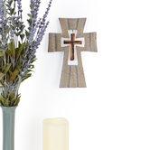 Stone Texture Cross with Mini Cross Wall Decor, Resin, Cream, 8 x 5 5/8 x 5/16 inches