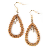 Radiant Sol, Teardrop with Cross Dangle Earrings, Rattan and Zinc Alloy, Gold and Tan