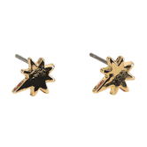 Gifts of Faith, Faithworks, Leather Tag Let Your Light Shine Star Stud Earrings, Metal, Gold, 1/4 inches
