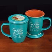 Abbey and CA Gift, You Are a Woman of Faith Mug with Lid, Turquoise, 14 ounces