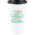 I Turn Coffee Into Education Travel Coffee Mug with Lid, White, 16 ounces