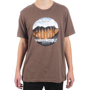 NOTW, Psalm 61:2 Lead Me To The Rock Higher Than I, Men's Short Sleeve T-Shirt, Brown Heather, Medium