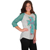 Southern Grace, Rose Faith Cross Boatneck Tee with Lacy Raglan Sleeves, Teal
