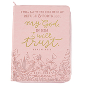 Renewing Faith, Psalm 91:2 Refuge & Fortress Floral Deluxe Planner, Pink, 7 x 9 inches