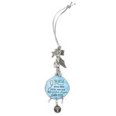 Abbey and CA Gift, Nurse Car Charm, Metal, Light Blue and Silver, 4 inches