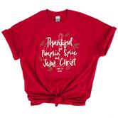 Kerusso, 1 Thessalonians 5:18 Pumpkin Spice and Jesus Christ, Women's Short Sleeve T-shirt, Red, Medium