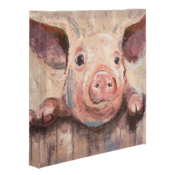 Pig At Fence Painted Canvas Wall Art, Canvas, 12 x 12 x 1 5/16 inches