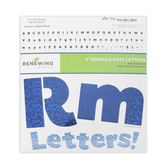 Renewing Minds, Blue Sparkle Bulletin Board Letters, Upper and Lowercase, 4 Inches, Blue, 221 Pieces