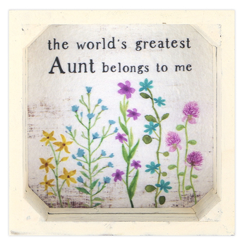Blossom Bucket, World's Greatest Aunt Plaque Wall Decor, Wood, Whitewashed, 5 3/4 x 5 3/4 x 1 1/2 inches