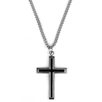 H.J. Sherman, Black Enamel Filled Cross, Men's Necklace, 18 inches