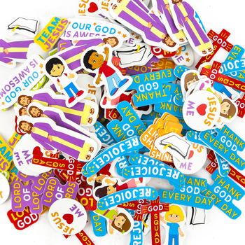 Playside Creations, Inspirational Kids Foam Stickers, Classroom Pack, 204 pieces