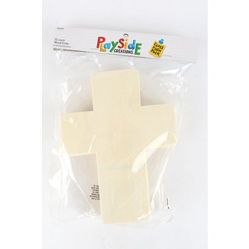 Playside Creations, Large Wood Cross Cut Out, Natural, 12  Count