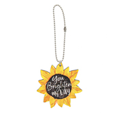 P. Graham Dunn, You Brighten My Day Car Charm, Sunflower, 2.5 x 2.5 inches