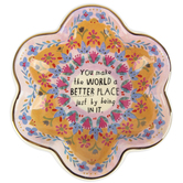 Natural Life, You Make The World Trinket Bowl, Ceramic, Pink, 7 x 1 1/2 Inches