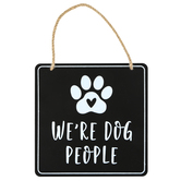 We're Dog People Wall Sign, Metal, Black and White, 5 3/4 x 5 3/4 inches