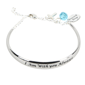 H.J. Sherman, Matthew 28:20 I Am With You Always Cuff with Chain Bracelet, Rhodium Plated, Silver
