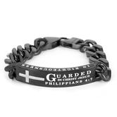 Spirit & Truth, Philippians 4:7, Guarded In Christ Jesus, Men's ID Bracelet, Stainless Steel, Silver/Black, 9 Inches