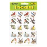 Eureka, Birds Theme Stickers, 1 x 1 Inches, Multi-Colored, Pack of 120