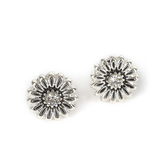 Howard's, Ear Sense, Flower Post Earrings, Antique Silver and Crystal Stone, 3/8 Inches