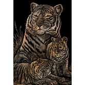 Engraving Art Set, Tiger and Cubs, 8 x 10 inches, Copper Foil
