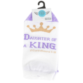Kayser Roth Corp, Daughter of the King Ankle Socks, Cotton Mix, White/Purple, Fits Shoe Size 4-10