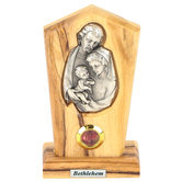 Logos Trading Post, Holy Family Silver Plated Icon Plaque, Olive Wood, 4 x 2 3/8 Inches