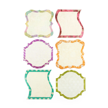 Retro Chic Collection, Large Cutouts, 6 inches, 6 Assorted Jewel Tone Designs, 36 Pieces