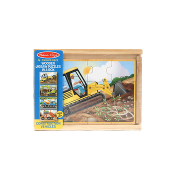 Melissa & Doug, Construction Boxed Wooden Jigsaw Puzzles, Ages 3 to 6 Years Old, Set of 4, 48 Pieces