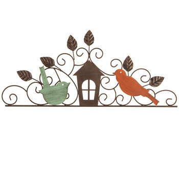 Two Birds and a House Metal Art, Natural, 19 1/4 x 8 5/8 x 5/8 inches