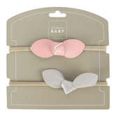 Stephan Baby, Headband Set, Pink & Gray, 2 Pieces
