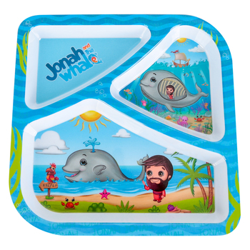 He Loves Me, Jonah and the Whale Divided Plate, Melamine, 8 1/2 inches