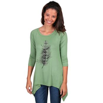 NOTW, Psalm 91:4 Raglan Sleeved Knit Shirt with High Low Hem, Sage Green, S-2XL