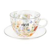 Pavilion Gift, Mom I Love You Tea Cup & Saucer Set, Glass, 7 ounces