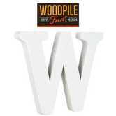 Woodpile Fun, Stand Alone Wood Letter - W, 3 inches, White