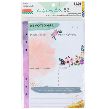 the Paper Studio, agenda 52 Floral Devotional Inserts, 24 pages, 5 3/4 x 8 1/4 inches