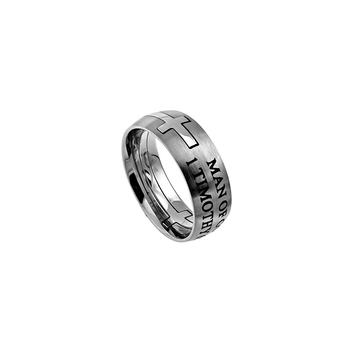 Spirit & Truth, 1 Timothy 6:11, Man of God, Men's Ring, Stainless Steel