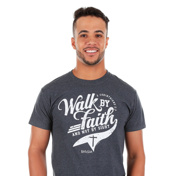 Kerusso, 2 Corinthians 5:7 Walk By Faith, Men's Short Sleeve T-shirt, Black Heather, S-3XL