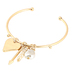 His Truly, Bangle Bracelet with Heart and Arrow Charms, Zinc Alloy, Gold