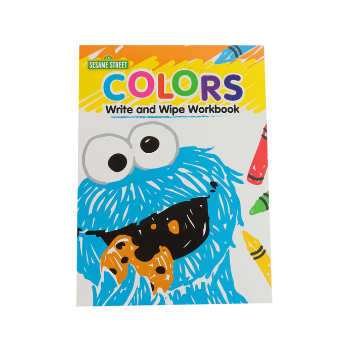 Sesame Street, Colors Write And Wipe Preschool Workbook, Paperback, 7  Pages, Ages 3-5 Mardel