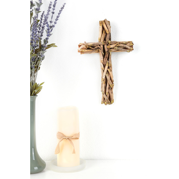 Driftwood Pieces Wall Cross, Natural and Gold, 8 1/2 x 12 x 1 1/2 inches